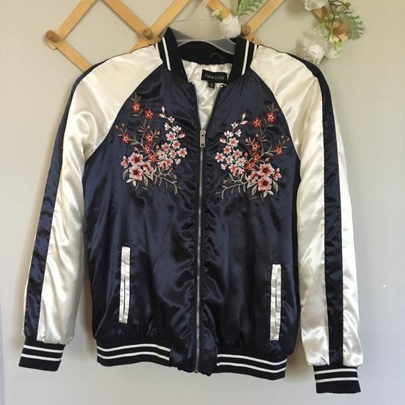 22d737183 Navy floral satin bomber varsity jacket Medium